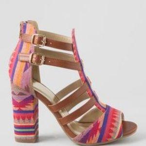 Francesca's Colorful Tribal Print Block Heels